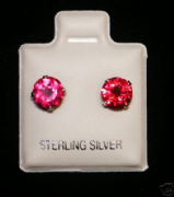 6mm Round Ruby July Birthstone Silver Stud Earrings